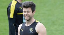Tigers skipper Trent Cotchin at training on Monday.