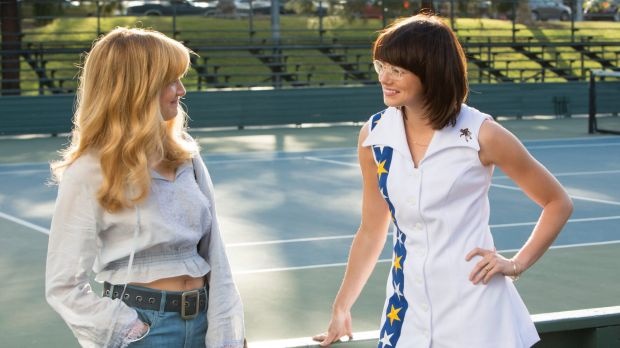 The scenes between Marilyn (Andrea Riseborough, left), and Billie Jean King (Emma Stone) are  sweet and sensual.