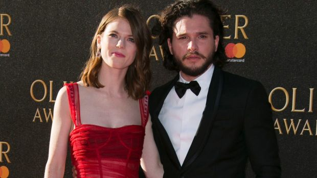 Kit Harington and Rosie Leslie attend the Oliver Awards 2017.