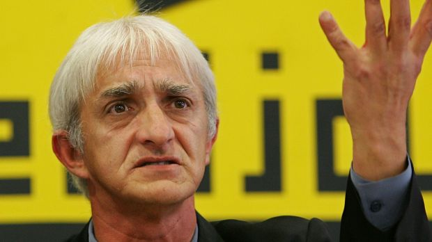 Dragan Vasiljkovic gestures at a press conference in Belgrade in 2005  when he denied an Australian reprot that said he ...