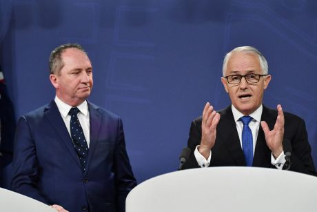 Deputy Prime Minister Barnaby Joyce and Prime Minister Malcolm Turnbull at a press conference in Sydney.