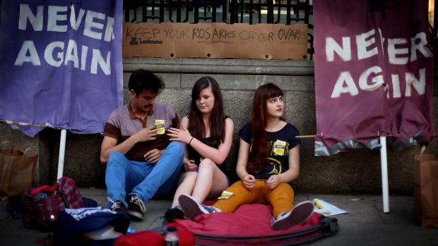 Members of the pro-choice movement group hold a 24-hour protest outside Leinster House in Dublin in 2013.