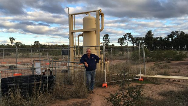 Nood Nothdurft, a farmer with CSG wells on his property, near Chinchilla, Queensland.