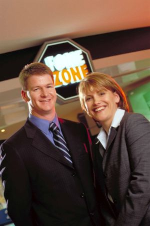 Maxine Horne and David McMahon in the early days of Fone Zone in 2001.