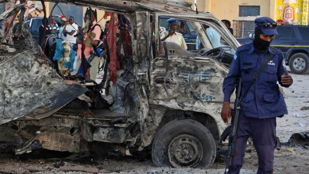 Massive blast from truck bomb kills 20 people in Somalia's capital