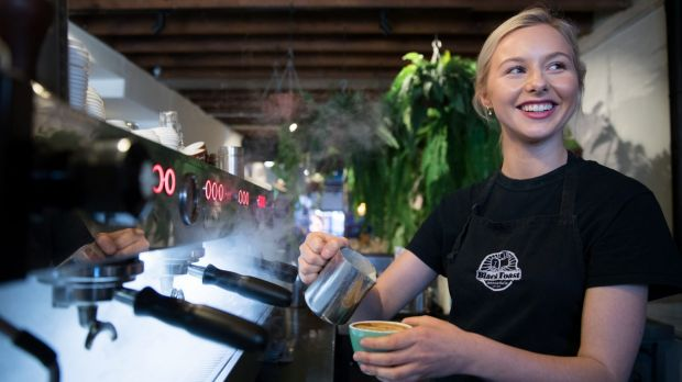 Isabella Valentini prepares coffee at Black Toast cafe in Annandale, Sydney.