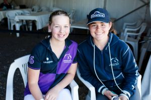Canberra International Horse Trials at Equestrian Park. From left, Emily Hill of Sydney, and Kayla Hogg of Bywong.