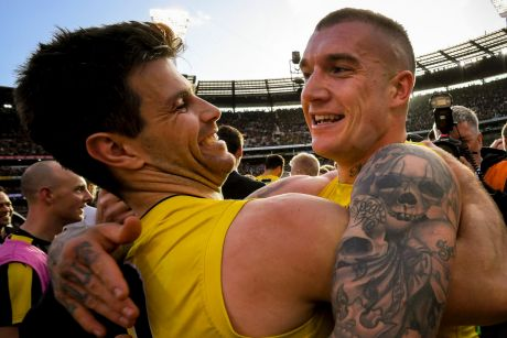 Team effort: Trent Cotchin and Dustin Martin.