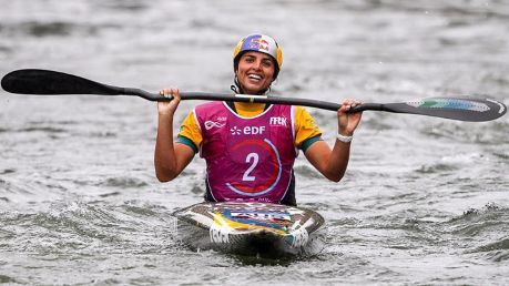 Wet work: Jessica Fox took the gold after only just qualifying for the canoe slalom world championships.
