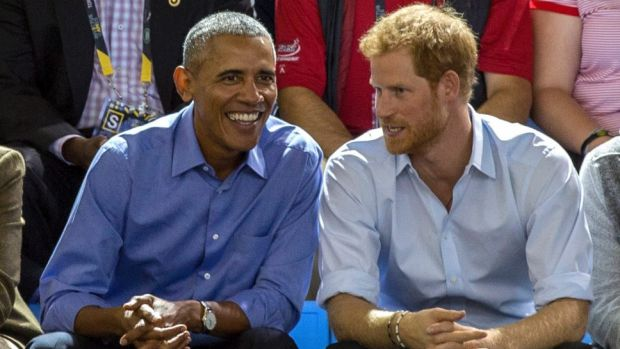 Barack Obama and Prince Harry at the Invictus Games in Toronto in September.