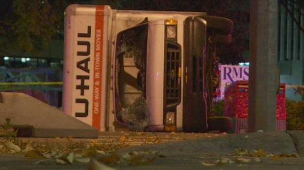 Police were involved in a high-speed chase with a truck which flipped over near a downtown hotel.
