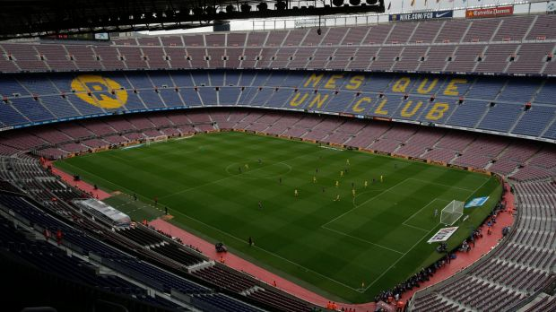 Barcelona and Las Palmas play in an empty Camp Nou in Barcelona on Sunday.