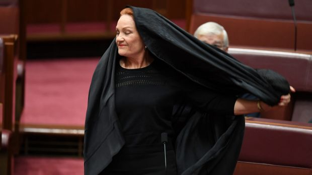 Pauline Hanson emerges from the burqa in August