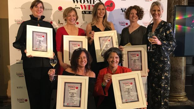 Owner of Four Winds Vineyard Sarah Collingwood (second from back right) with all the winners of the 2017 Australian ...
