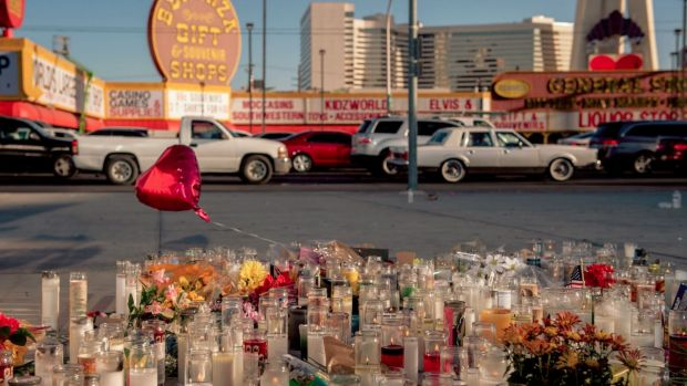 A memorial to the victims on the corner of Sahara Avenue and Las Vegas Boulevard.