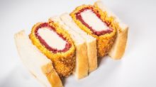 Kamikaze katsu sandwich with deep-fried sudachi lime gelato coated in red velvet cake and panko breadcrumbs sandwiched ...