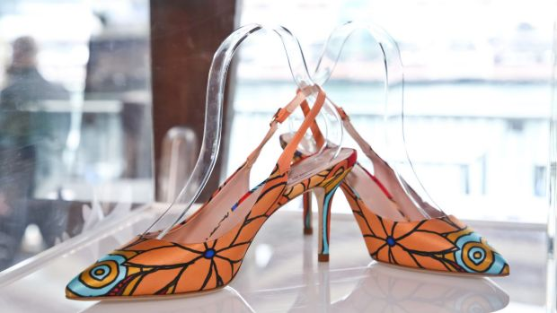 Jimmy Choo unveiled a capsule shoe collection at the dinner, including this pair in an Aboriginal print.