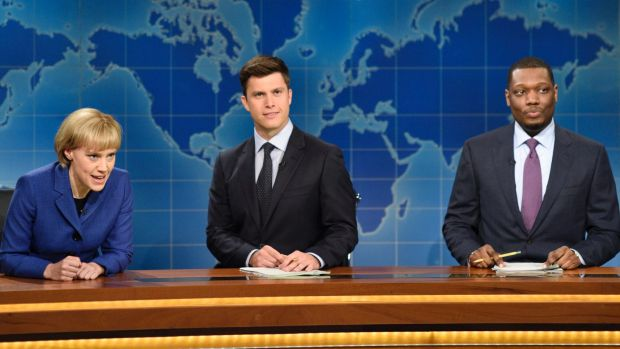 Colin Jost (centre) is an actor and head writer at Saturday Night Live.
