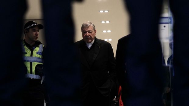 Cardinal George Pell arrives at the Melbourne Magistrates Court on Friday morning.
