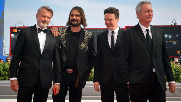 Director Warwick Thorn at the world premiere of Sweet Country at the Venice Film Festival with (from left) cast members ...