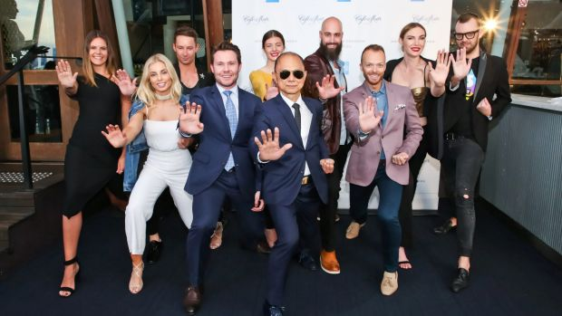 Jimmy Choo with guests at the party in Darling Harbour.