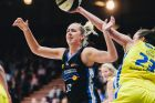 WNBL round 1, Canberra Capitals v Bendigo Spirit at the National Convention Centre. Capitals Rachel Jarry and Spirits' ...