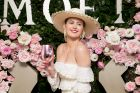Jacinta Franklin poses for a photograph at the Moet and Chandon race day at the Royal Randwick Racecourse. Photo By Cole ...
