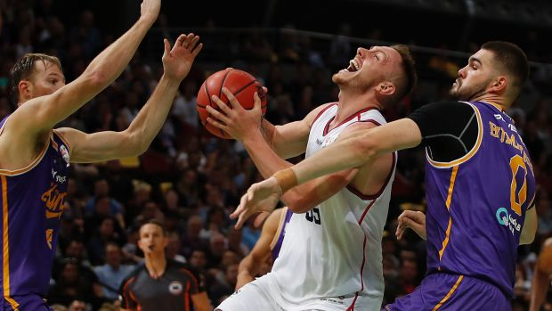 Shout out: Mitchell Cleek controls the ball against the Kings at Qudos Bank Arena in Sydney.
