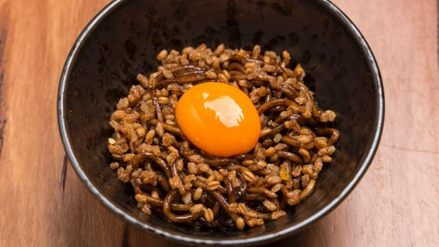 Black garlic, farro mazemen, egg yolk.