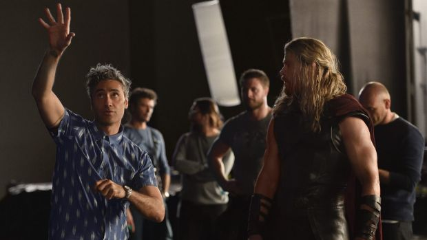 On the Thor set with director Taika Waititi and Chris Hemsworth.