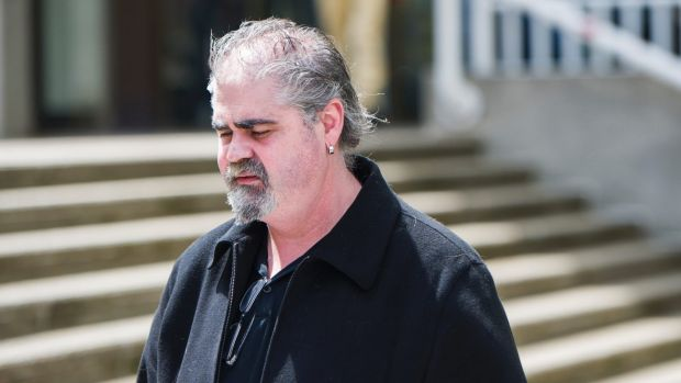 Canberra restaurateur James Mussillon leaves the Queanbyean Court on Monday afternoon.