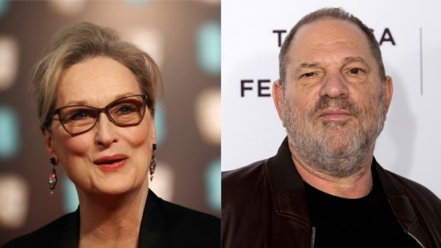 "Meryl Streep said she is ""appalled"" at the revelations of sexual harassment by Harvey Weinstein."