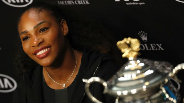 Serena Williams with the 2017 Australian Open trophy.