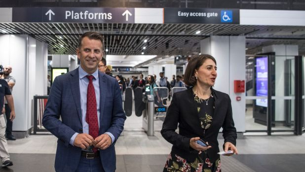Premier Gladys Berejiklian and Transport Minister Andrew Constance at Wynyard Station in Sydney's CBD on Tuesday.