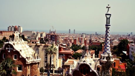 A view over Barcelona from Antoni Gaudí's famed Park Güell.