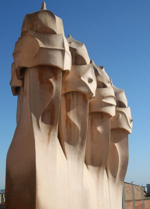 Sculptural chimneys on the rooftop of Gaudi's first apartment block, La Pedrera, finished in 1910.