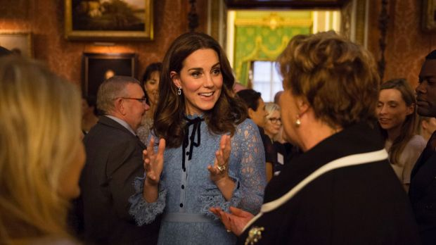 Britain's Kate the Duchess of Cambridge attend a reception at Buckingham Palace London to celebrate World Mental