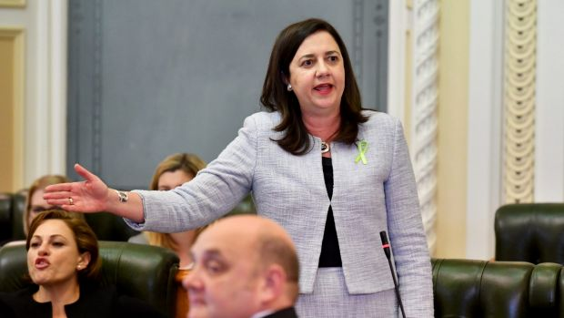 Queensland Premier Annastacia Palaszczuk during Question Time at Parliament House.
