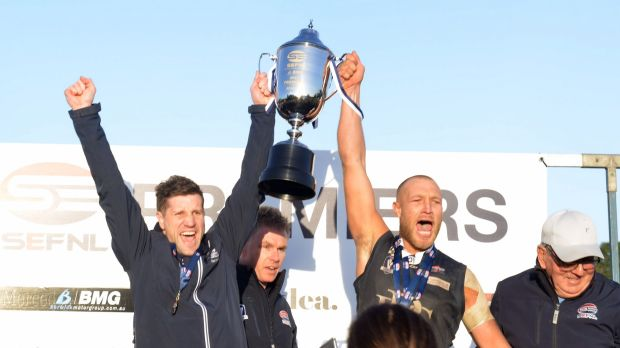 Stewart Kemperman (left) leads Berwick Football Club to a successful premiership for the first time in the club's ...