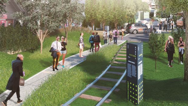 Walking beside tram tracks: an artist's take from the Future Street Project.
