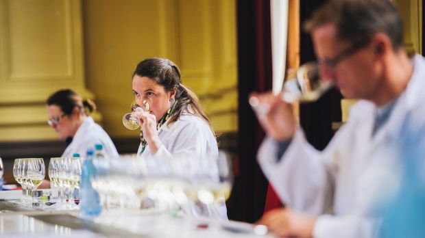 The Canberra International Riesling Challenge 2017 wine judging at the Albert Hall. (L-R) Alison Eisermann, Greer ...