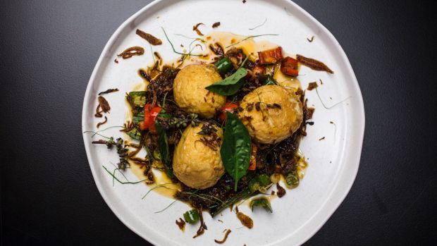 Son-in-law eggs transform sticky tamarind chilli duck into something textural, new and balanced.