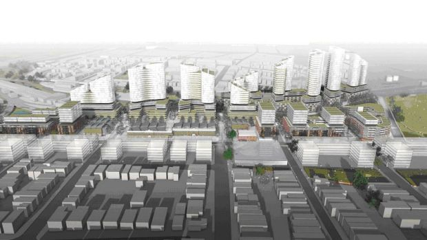 The proposed project would include 2616 residential units, as well as 17,300 square metres of new retail and commercial ...