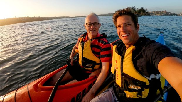 Malcolm Turnbull, with lifejacket, and GoPro billionaire Nick Woodman on Sydney Harbour in October.
