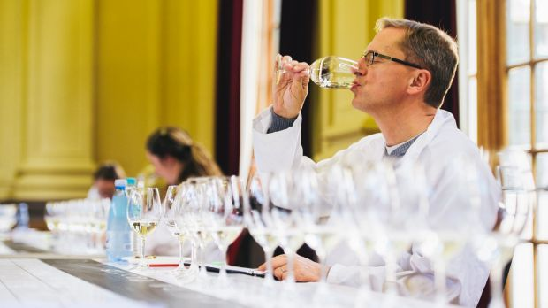 Steffen Schindler from the German Wine Institute judging at the 2017 Canberra International Riesling Challenge at Albert ...