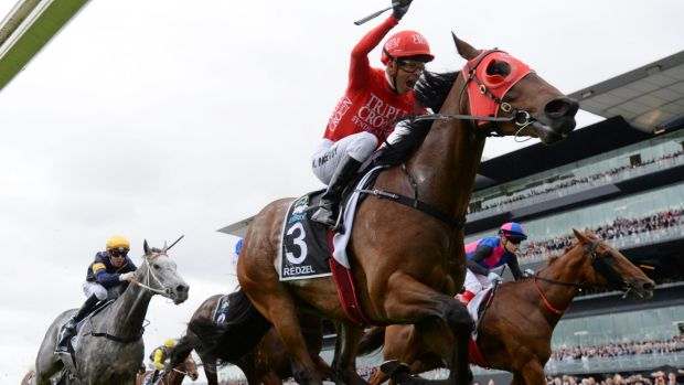 Clash: Kerrin McEvoy aboard inaugural The Everest winner Redzel.
