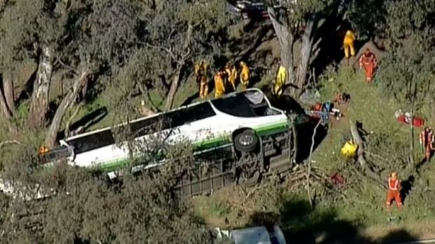 At least three seriously injured after bus crash in Victorian town