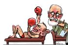 Tony Abbott in speedos and boxing gloves, throwing a punch
