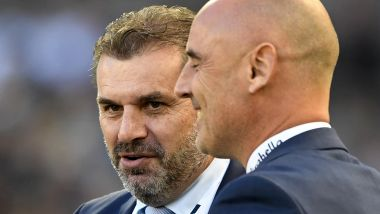Ange Postecoglou with Victory coach Kevin Muscat on Saturday.