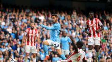 Manchester City's Bernardo Silva scores his side's seventh goal of the game during the English Premier League soccer ...